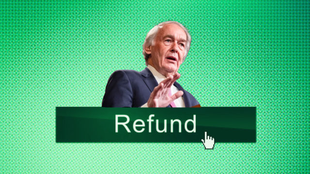a photo of an older man with a sign that says refund below her name