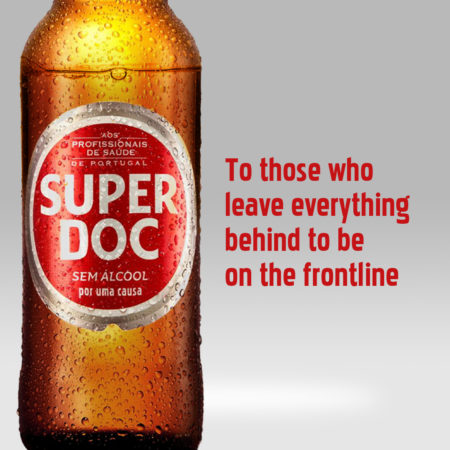 a beer that says super doc and on the right says to those who leave everything behind to be on the frontline