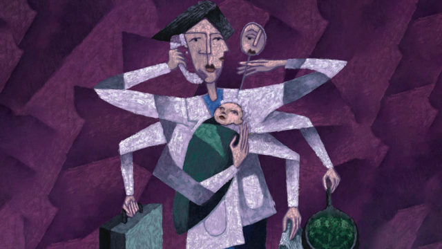 an illustration of a mom in purple with multiple arms, holding a baby, briefcase, cell phone and more