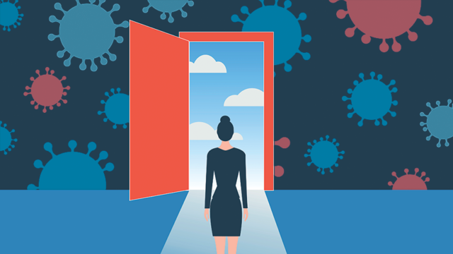 a woman walking through a red door with viruses on the walls and a blue sky and clouds outside