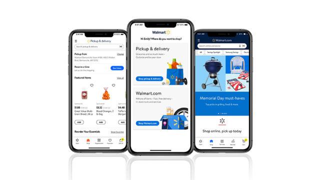 Three smartphones with the Walmart app open