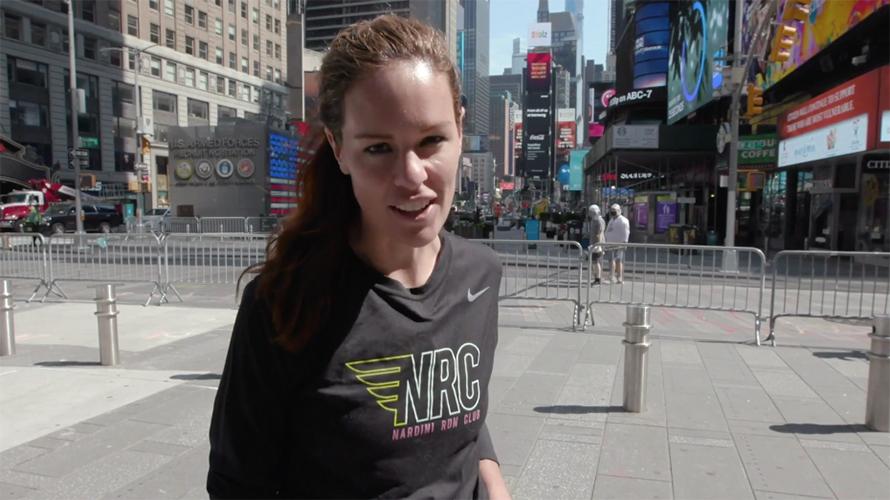 Erika Nardini in Times Square