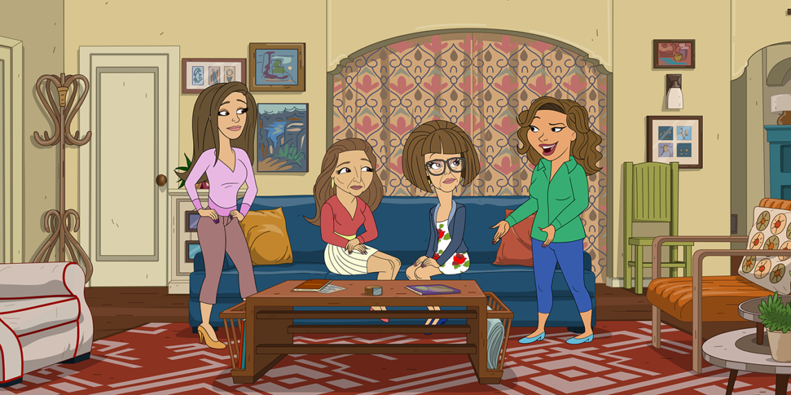 a cartoon latino family sitting on a blue couch in a living room
