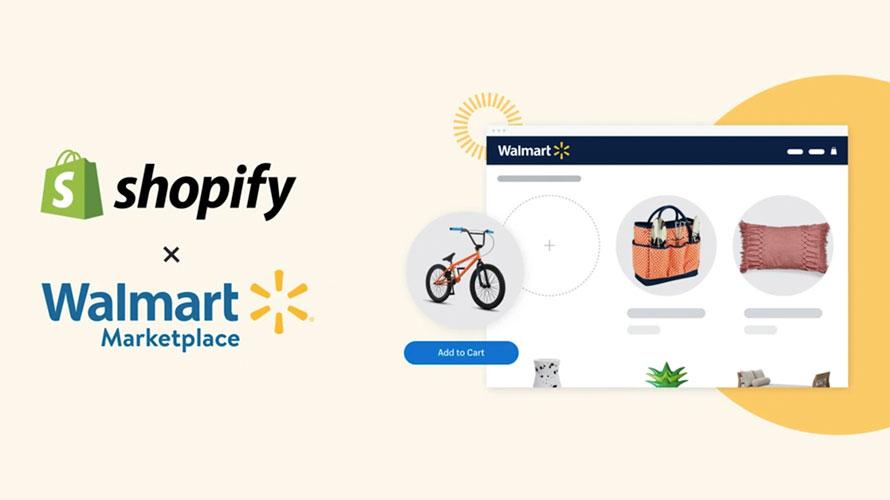 The Shopify and Walmart logos next to a screenshot of Walmart.com