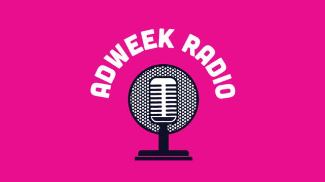 pink background with a microphone that says adweek radio