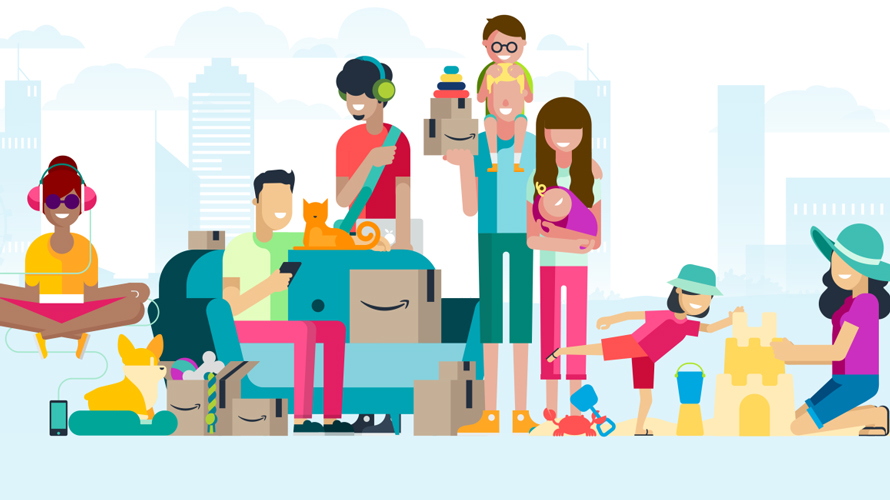 illustration of amazon shoppers in stylish clothes