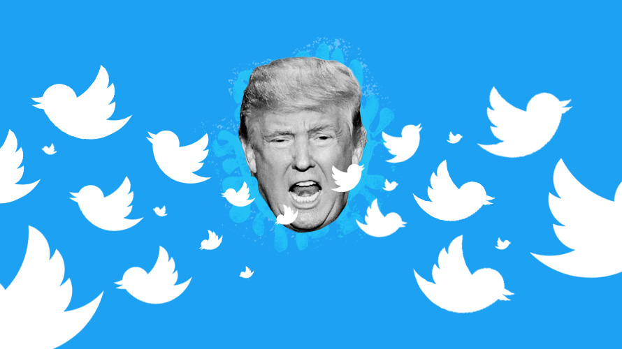 donald trump's face in black and white with twitter birds flying out of his mouth