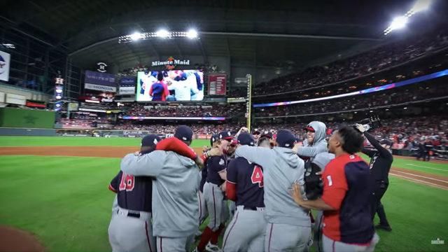 a baseball team celebrating