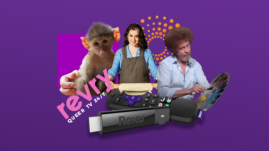 A monkey, Claire Saffitz and Bob Ross with the Roku TV remote and logo for Revry