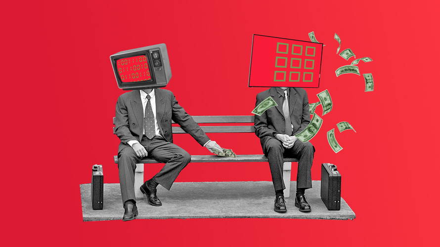two men on a park bench, one with a tv for a head and another as a remote control
