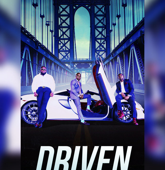 purple background with three people standing in front of a white car that says driven underneath