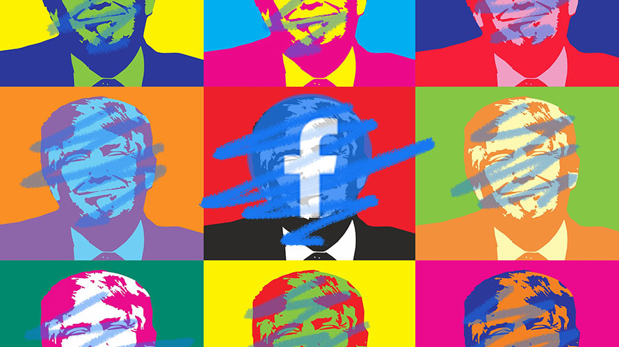 illustration of donald trump with colorful scribbles over his face and facebook