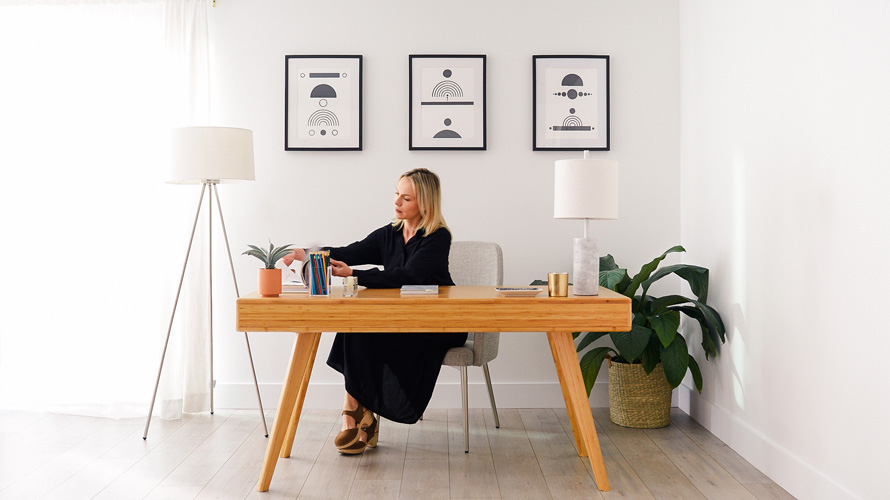 A woman sitting at a desk working
