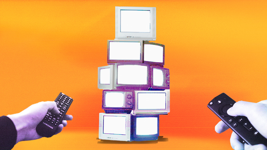 a stack of TVs