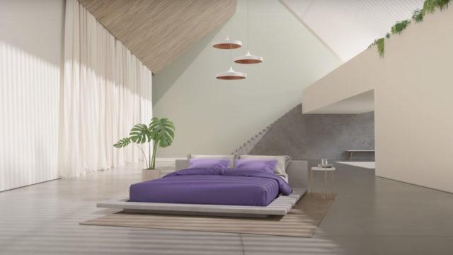 a purple mattress in a nice home