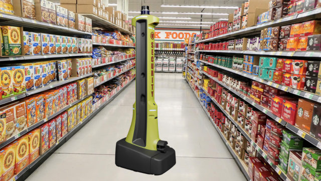Photo of the PatrolBot in a grocery aisle