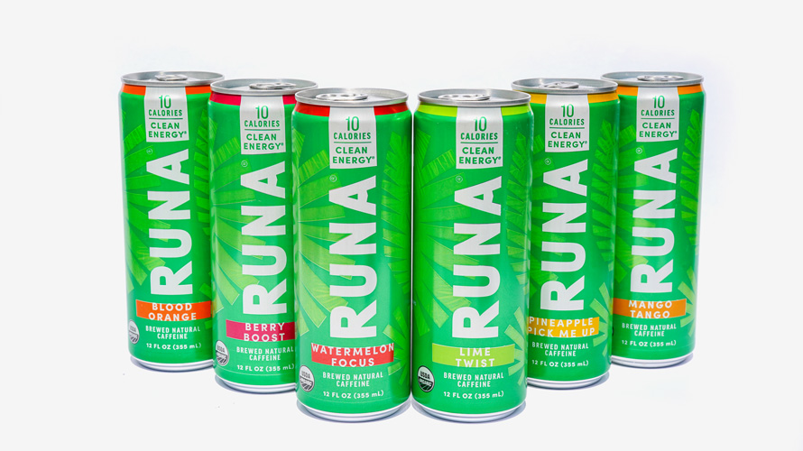 Photo featuring six cans of Runa