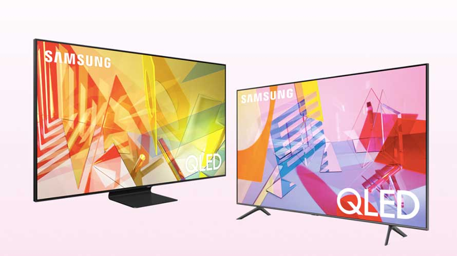 two tv screens with abstract shapes in yellow and orange on the left and pink and blue on the right
