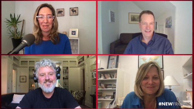four panels of people in a zoom call, two men and two women