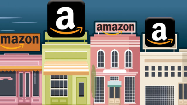 pink, green and white storefronts with amazon a
