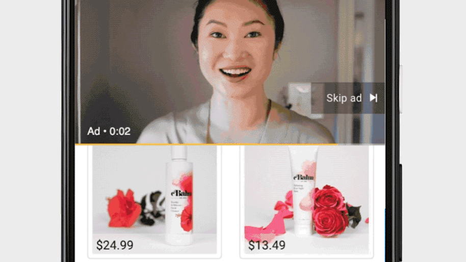 an ad of a smiling asian woman with two smaller boxes underneath her photo with a flower and spray