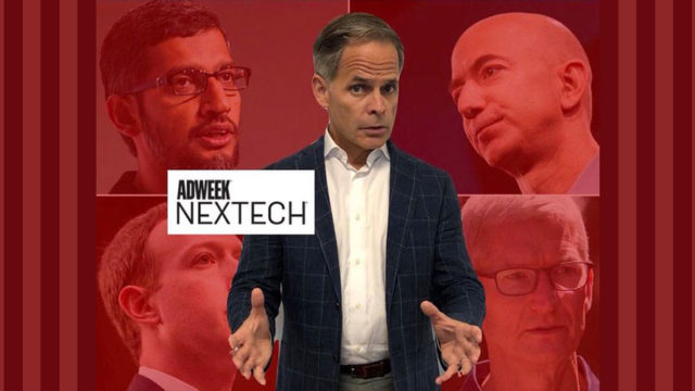 Image of Terence Kawaja with Big Tech CEOs in red background