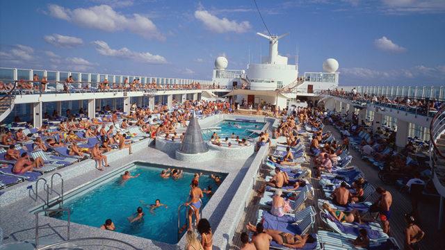 a busy cruise ship deck