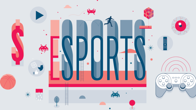 the word esports on a gray background with little symbols floating around it