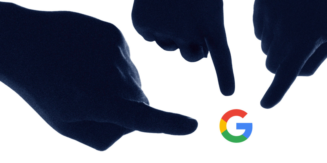 fingers pointing at Google logo