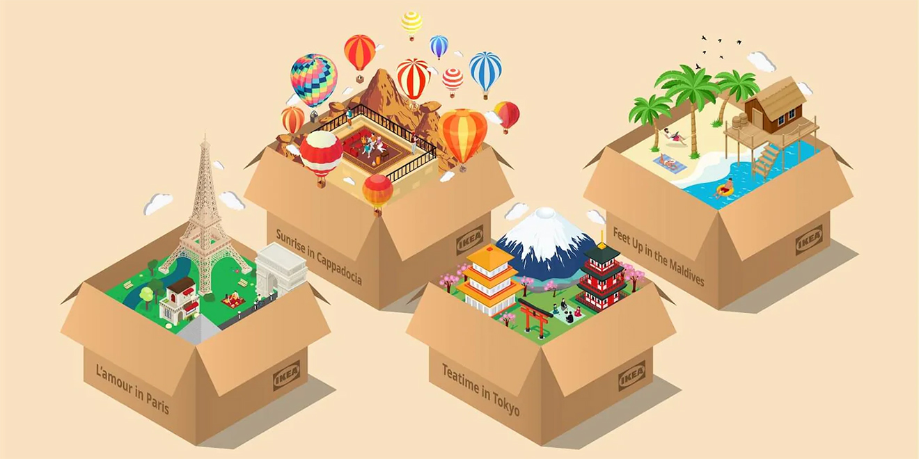 Illustrations of Ikea's Vacation in a Box