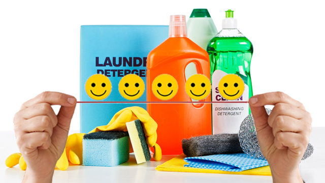a series of colorful soap containers with happy faces over hte middle
