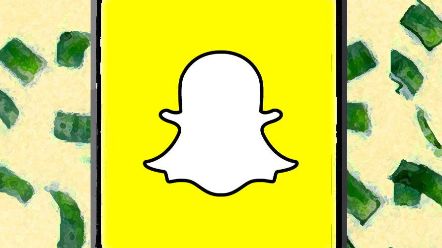 snapchat ghost logo with falling money on the isdes