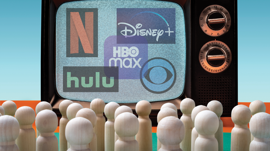 netflix, hulu, disney+, hbo max, peacock logos on a screen with little figures sitting and looking at it