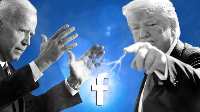 joe biden and donald trump with a facebook logo in the middle and lightning coming out of trump