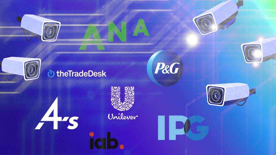 Logos for ANA, P&G, The Trade Desk, 4a's, IAB, Unilever and IPG