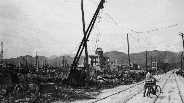 black and white photo of a devastated hiroshima after the bomb fell