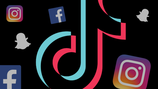 facebook, snapchat, instagram, tiktok logos floating around