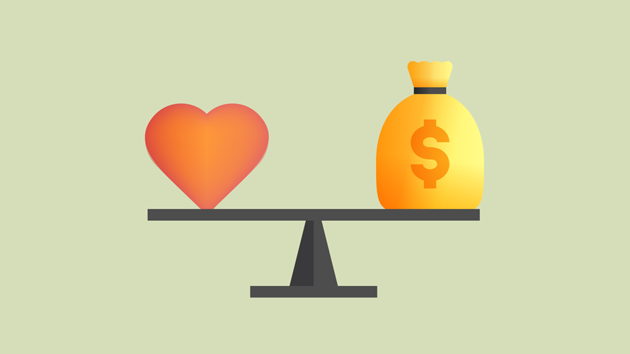 a heart and bag of money on a scale