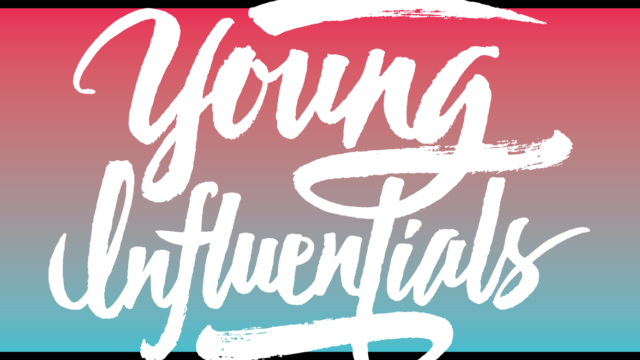 red and blue background that says young influentials in white script