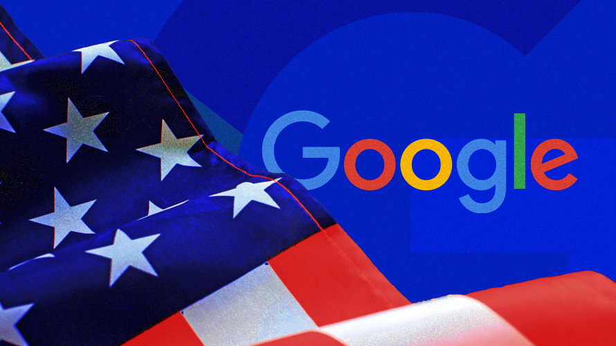 Google logo and the American flag