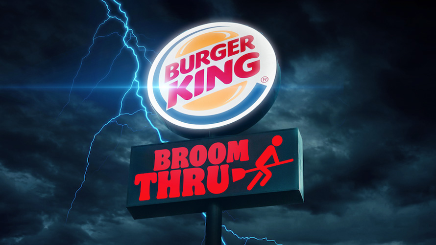 Burger King broom drive-thru sign