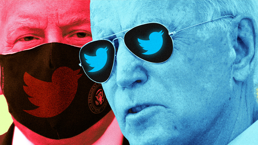 Illustration of Trump and Biden with the Twitter logo