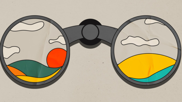 illustration of binoculars and you can see a landscape through it