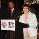 Vice Mayor Linda Gorton speaks at Thursday's ceremony at the Lexington Brewing and Distilling Company.