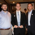 Fielding Rogers, center, was one of LYPA's 2012 Rising Stars. At right is Jeromie Kirk of Lane Consultants, and at left is Fielding's brother Daniel Rogers.