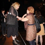 Ruby Lerner is greeted by an audience member at the IdeaFestival in Louisville.