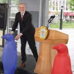 The press conference to announce 21c Lexington included the unveiling of a new blue – penguin that is.