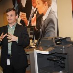 Brian Henderson, Lexmark's Director of Worldwide Product Marketing, demonstrates how to use some of Lexmark's newest laser printers and multifunction products.