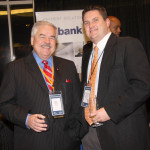 Bob Canada of US Bank of Lexington visits with Michael Parker of the Maysville-Mason County Chamber of Commerce.