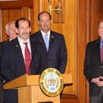Mike Sweeney, president of the Lexington Fraternal Order of Police, speaks at the ceremonial bill-signing of the Lexington pension reform plan.